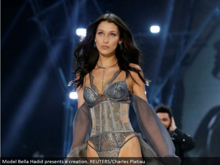 Model Bella Hadid presents a creation. REUTERS/Charles Platiau