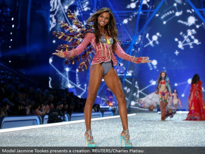 Model Jasmine Tookes presents a creation. REUTERS/Charles Platiau