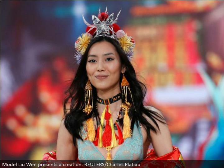 Model Liu Wen displays a creation. REUTERS/Charles Platiau