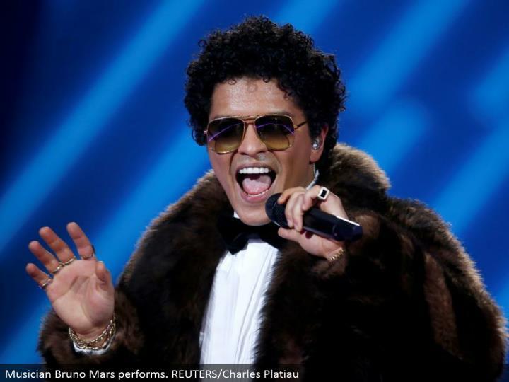 Musician Bruno Mars performs. REUTERS/Charles Platiau