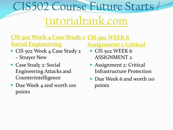 CIS502 Course Future Starts /