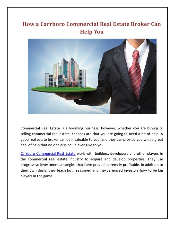 How a Carrboro Commercial Real Estate Broker Can