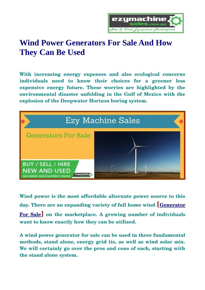 Wind Power Generators For Sale And How