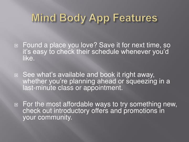 Mind Body App Features