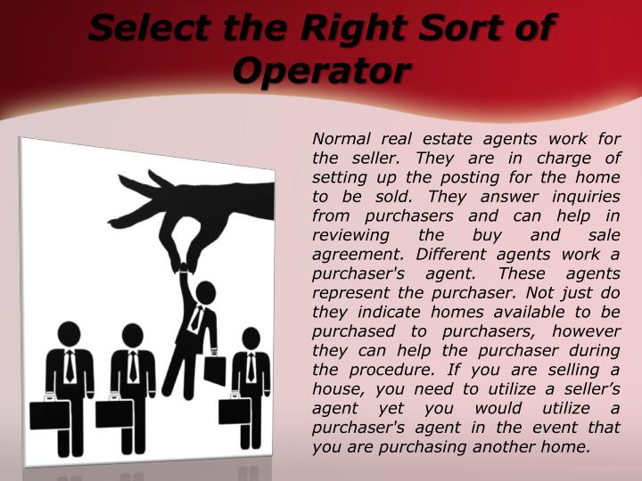 Select the right sort of operator
