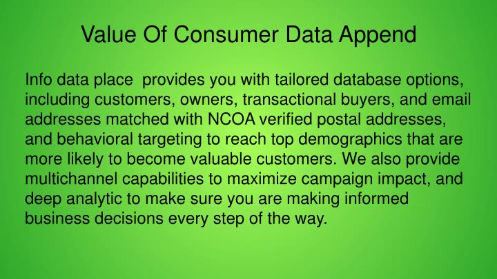Value Of Consumer Data Append
