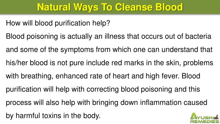 Natural Ways To Cleanse Blood