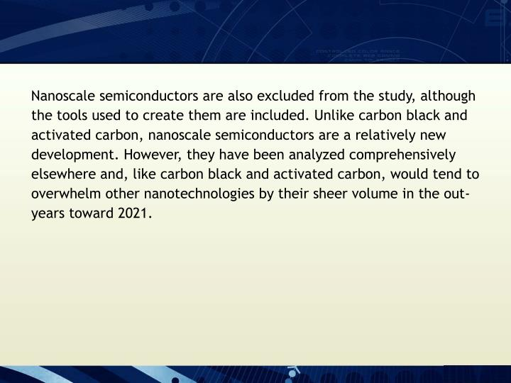 Nanoscale semiconductors are also excluded from the study, although