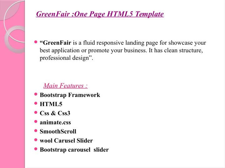 GreenFair :One Page HTML5 Template