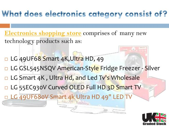 What does electronics category consist of