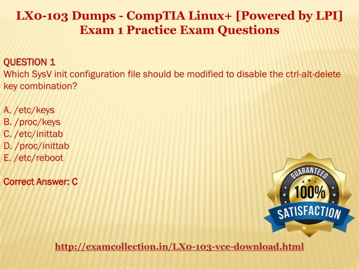 LX0-103 Dumps - CompTIA Linux+ [Powered by LPI]