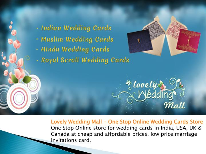 One Stop Online store for wedding cards in India, USA, UK & Canada at cheap and affordable prices, low price marriage invitations card.