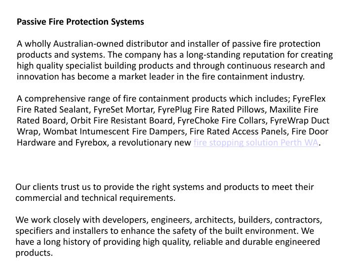 passive fire protection systems Pfp systems performs passive fire protection, insulation and precision grouting applications pfp systems has expertise in the application of light weight.