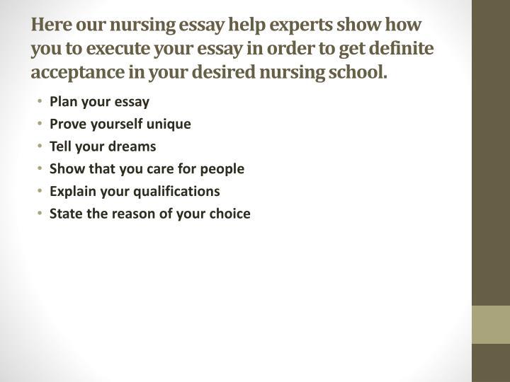 Nursing school essay help
