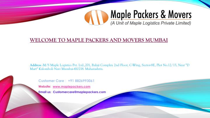 welcome to maple packers and movers mumbai n.