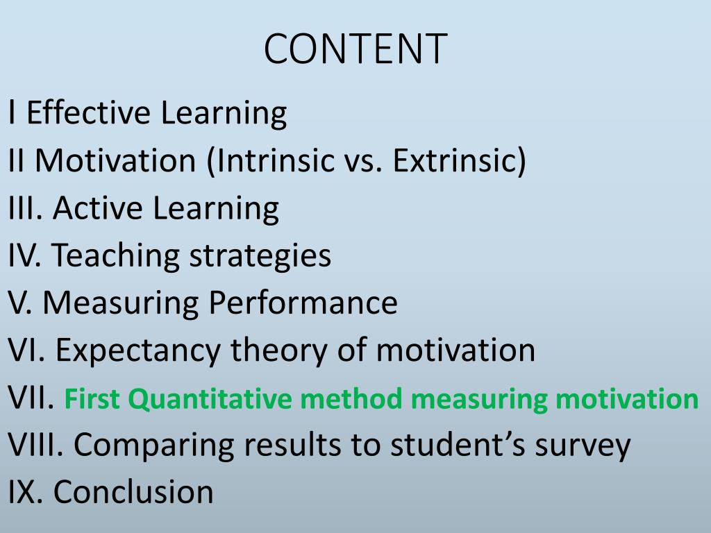 PPT - First quantitative method for the motivation of