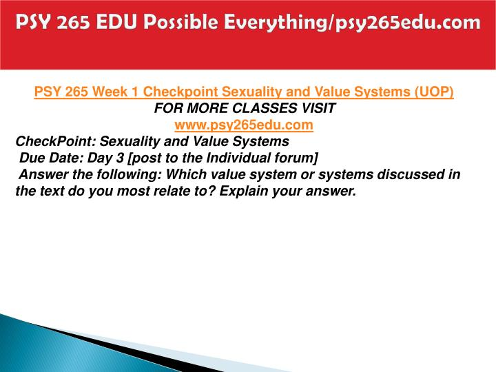 psy 265 check point value systems