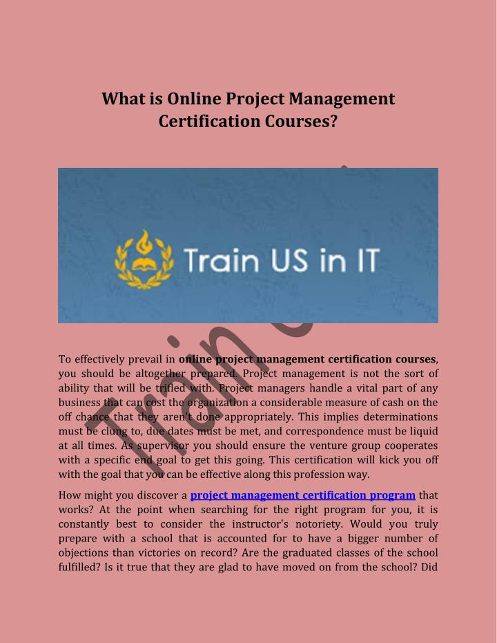 Ppt What Is Online Project Management Certification Courses