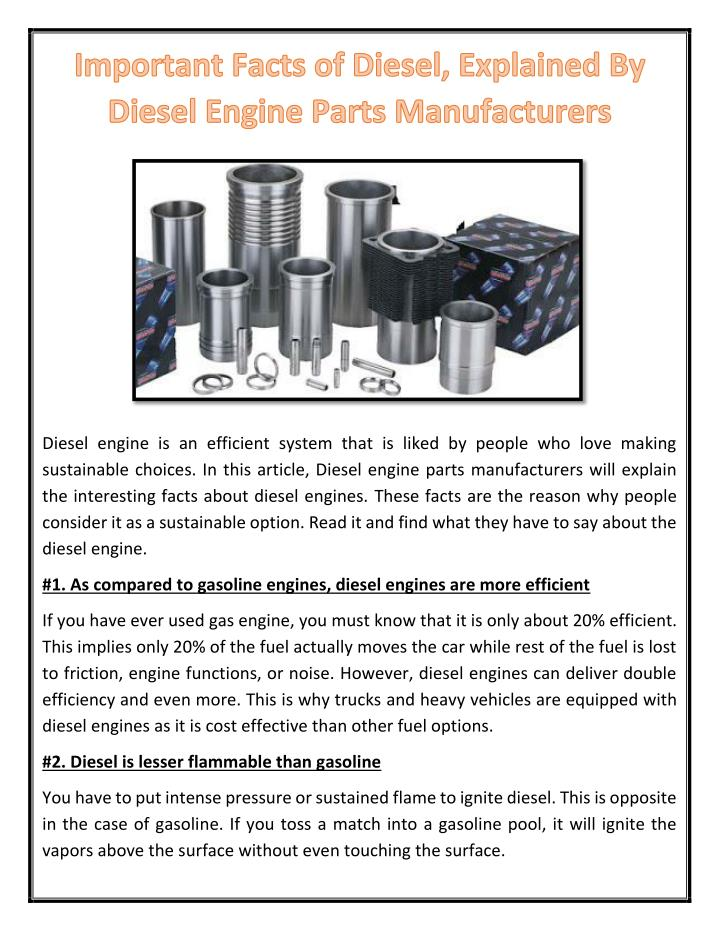 PPT - Important Facts of Diesel, Explained By Diesel Engine Parts ...
