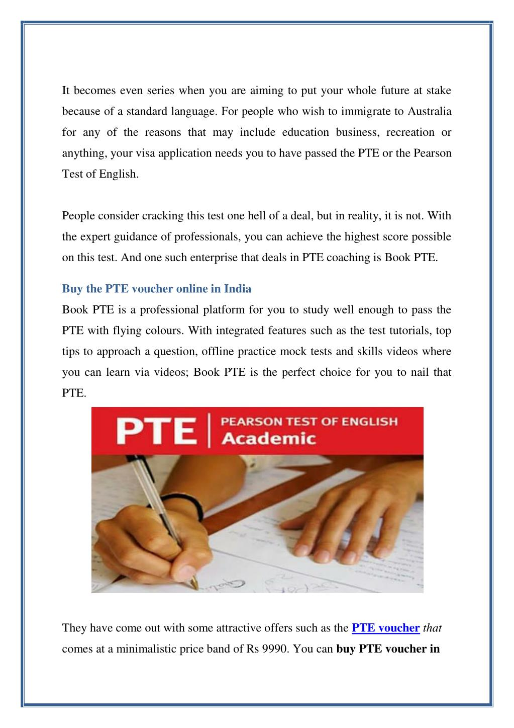 Pte Exam Fee In Indian Rupees