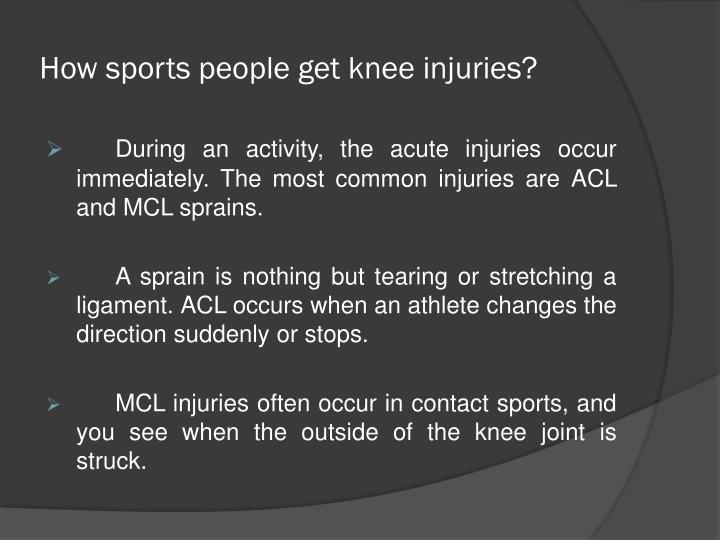 sports related knee injuries essay Effects of sports injuries  due to a knee injury all in all, sports injuries have innumerable effects on individual athletes,  related posts: sports gambling.