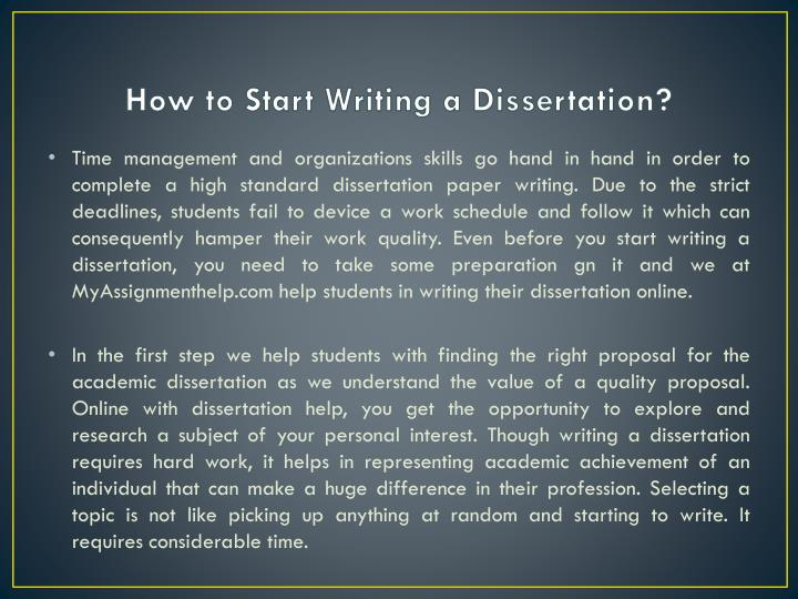 how to start writing a dissertation