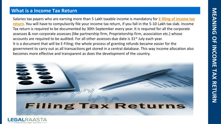 Ppt - File Income Return Online For Free Legalraasta  Taxraahi Powerpoint -6085