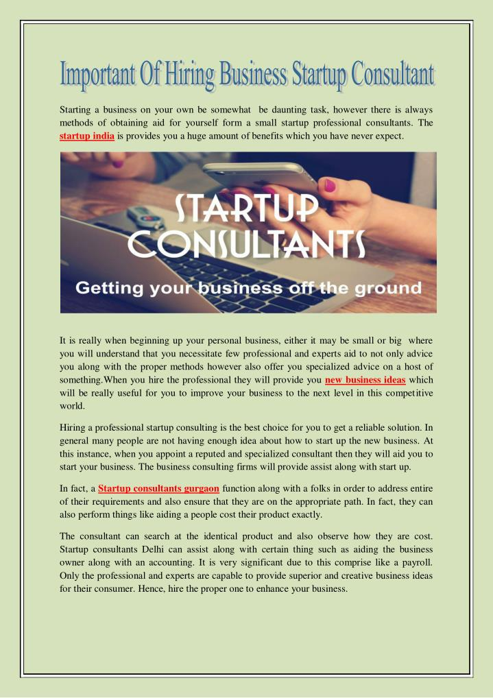 PPT - Important of Hiring Business Startup Consultant