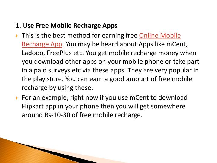 1. Use Free Mobile Recharge Apps