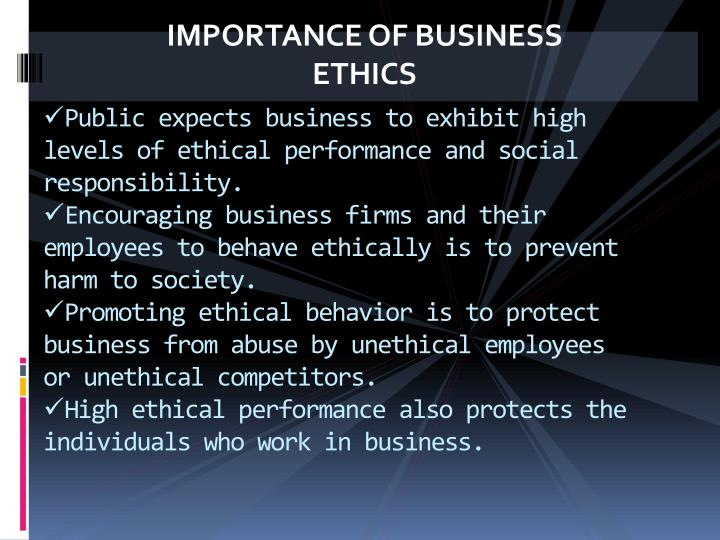 importance of ethics on the internet While ethics is a societal concern, it is of critical importance to the professions that serve society because professionals such as physicians, attorneys, engineers, and property and facility managers provide services that affect our welfare, they develop professional codes of ethics that establish professional standards for behavior.