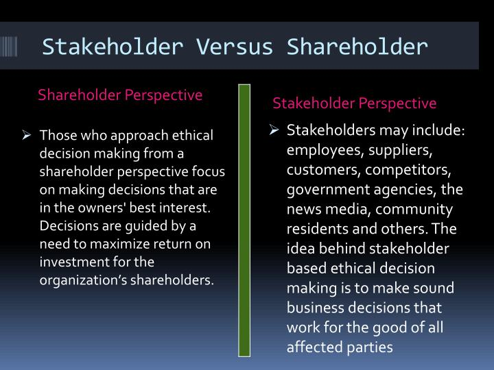 stakeholder versus shareholder essay Stewardship theory, stakeholder theory and convergence  stewardship theory, stakeholder theory and convergence  the purpose of business is to build shareholder.