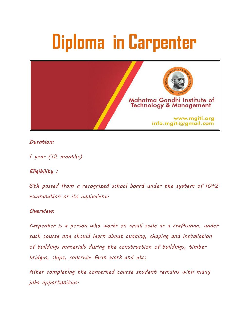 PPT - Diploma in Carpenter PowerPoint Presentation - ID:7463422