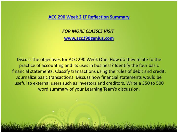 acc 290 week 4 team reflection Acc 290 week 2 lt reflection summary new to purchase this visit here http wwwnerdypupilcom product acc-290-week-2-lt-reflection-summary-new-2 contact us.