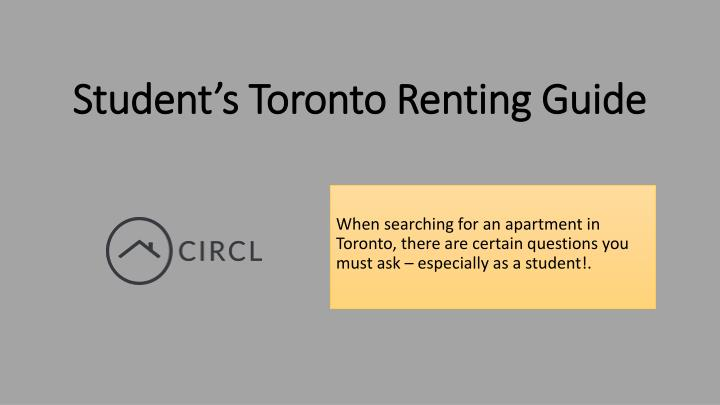 student s toronto renting guide n.