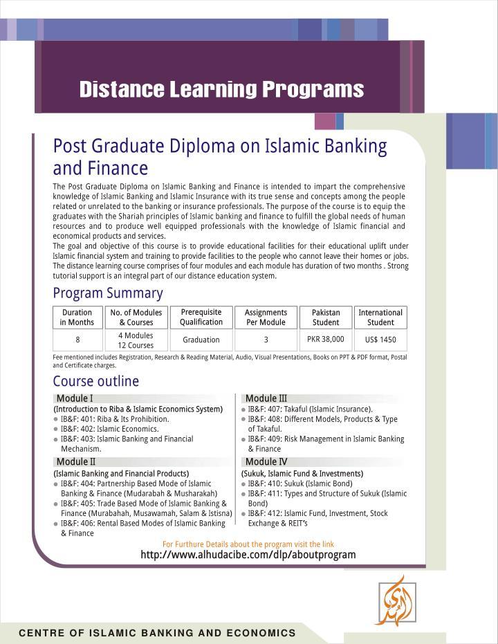 Post Graduate Diploma On Islamic Banking