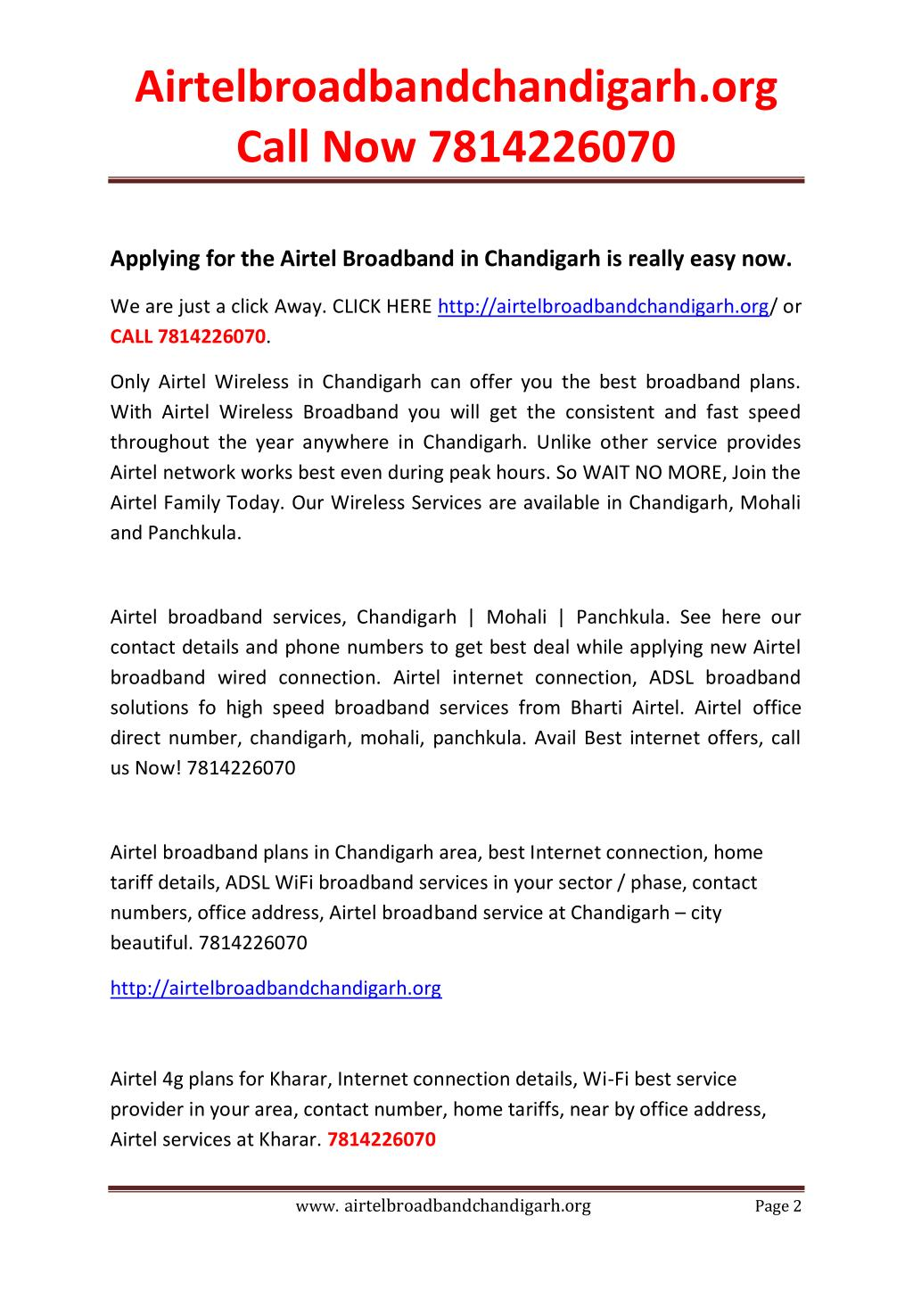 PPT - Airtel Broadband Connection in Chandigarh,Mohali