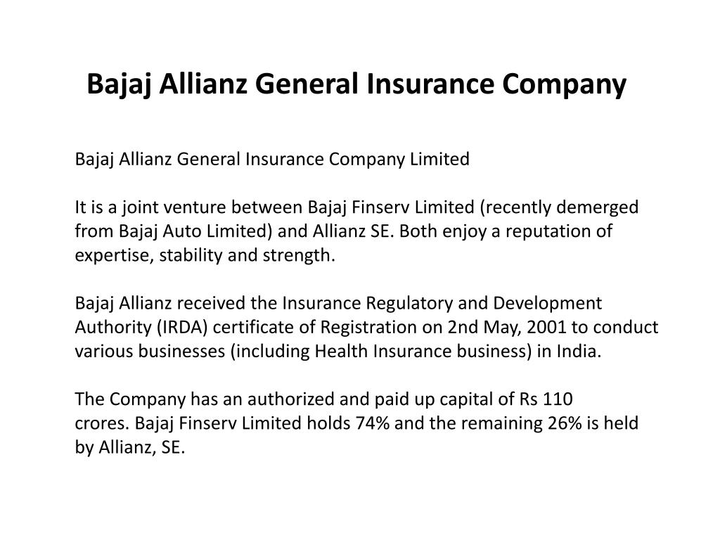 Ppt Bajaj Allianz General Insurance Company Powerpoint