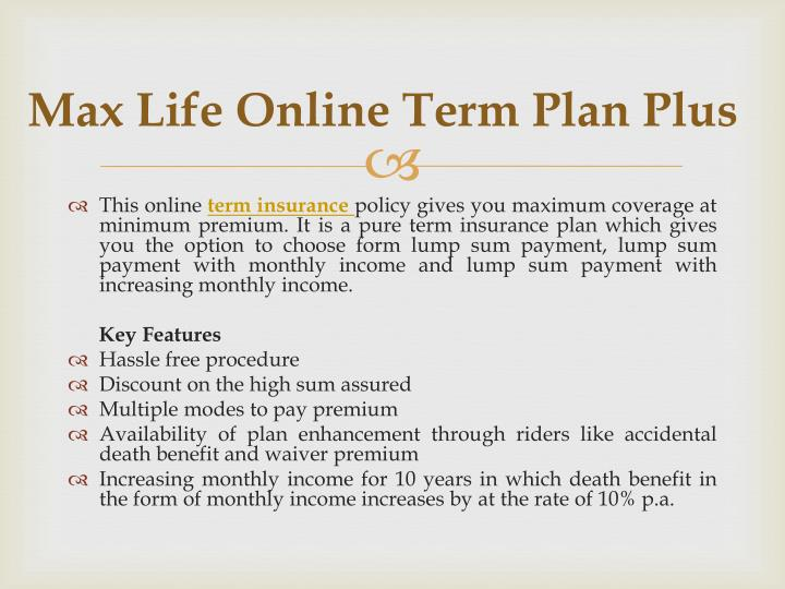 Ppt choose from best 10 term insurance policies to make for Plus plan online