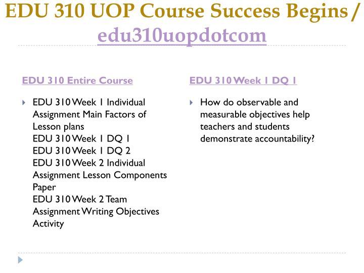 edu 310 main factors of lesson plans paper Edu 310 week 1 individual assignment main factors of lesson plans edu 310 week 1 dq 1 edu 310 week 1 dq 2 edu 310.