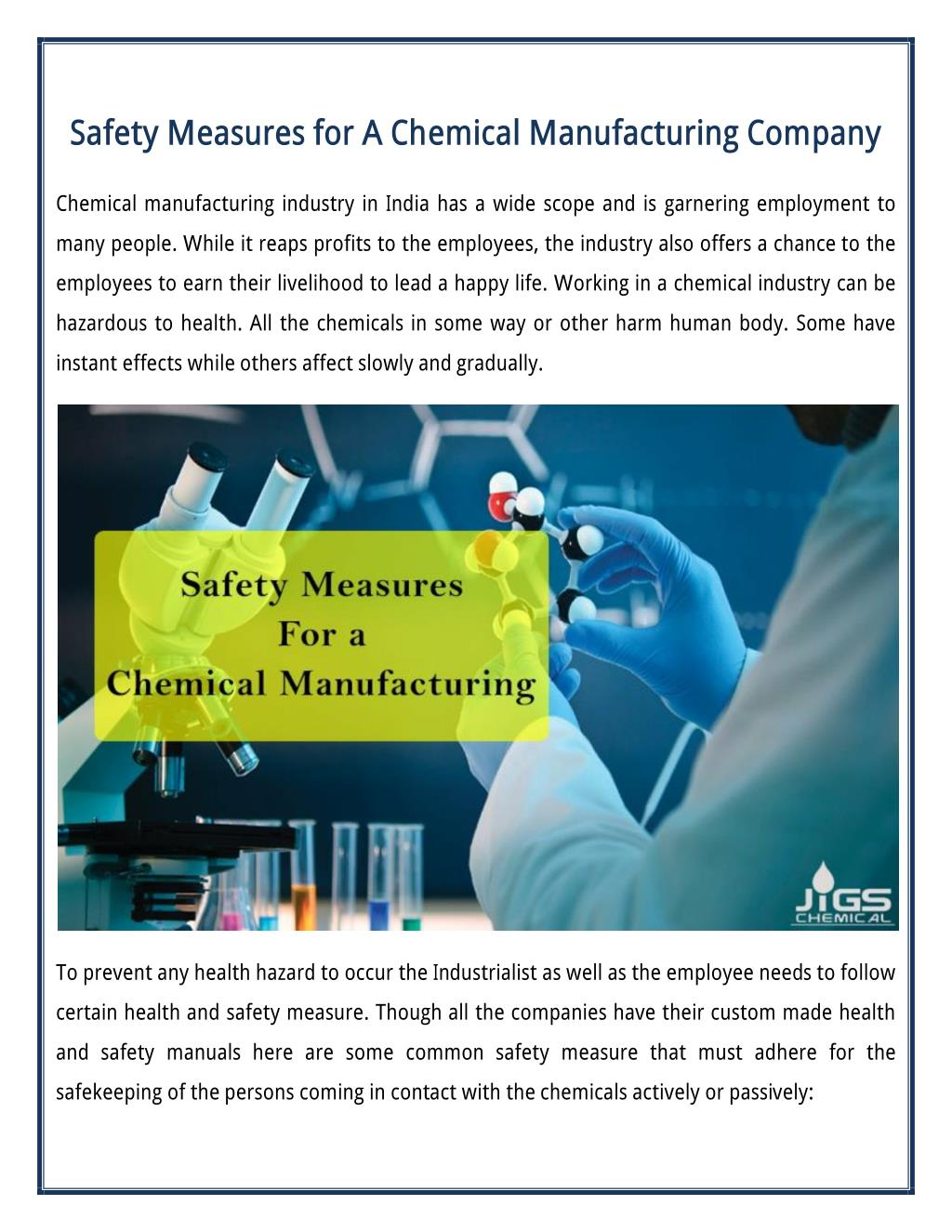 PPT - Some Common Safety Measures for A Chemical Manufacturing