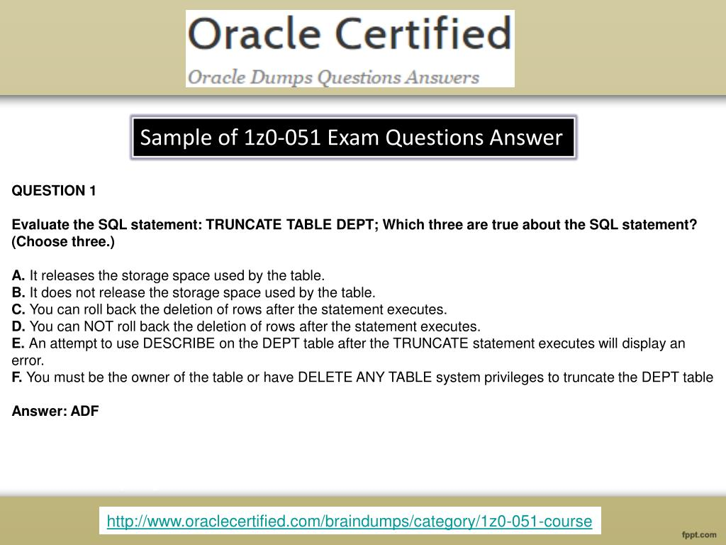 PPT - Oracle 1z0-051 Real Exam Questions With Answers