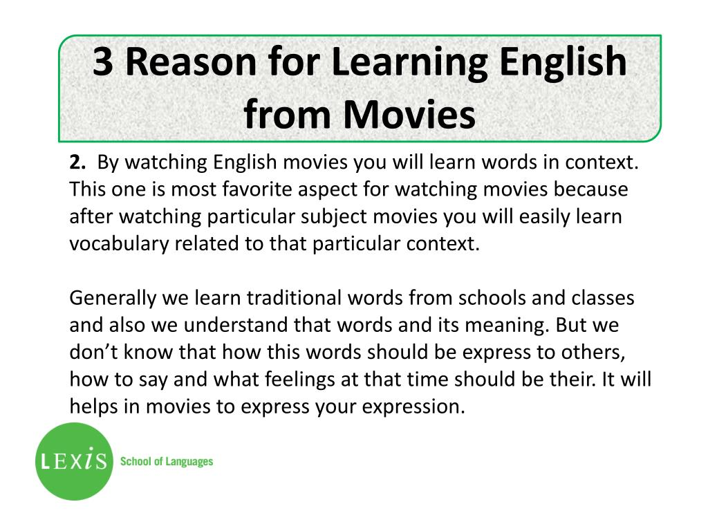 PPT - English for academic purposes - Learning English from Movies