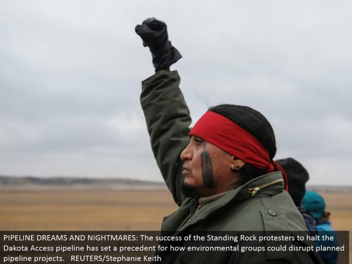 PIPELINE DREAMS AND NIGHTMARES: The accomplishment of the Standing Rock dissenters to end the Dakota Access pipeline has set a point of reference for how natural gatherings could upset arranged pipeline ventures. REUTERS/Stephanie Keith