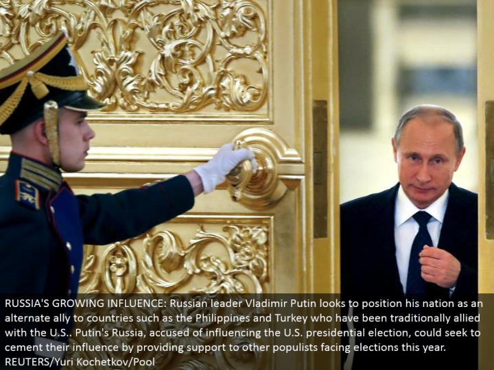 RUSSIA'S GROWING INFLUENCE: Russian pioneer Vladimir Putin hopes to position his country as a substitute partner to nations, for example, the Philippines and Turkey who have been customarily aligned with the U.S.. Putin's Russia, blamed for affecting the U.S. presidential decision, could look to bond their impact by giving backing to different populists confronting races this year. REUTERS/Yuri Kochetkov/Pool