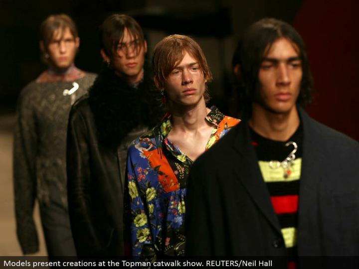 Models display manifestations at the Topman catwalk appear. REUTERS/Neil Hall