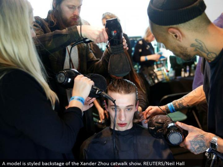 A model is styled backstage of the Xander Zhou catwalk appear. REUTERS/Neil Hall