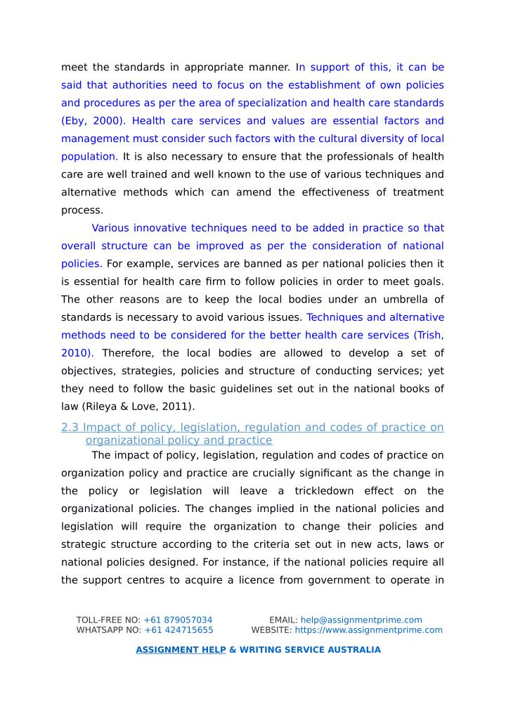 4 what is the impact of policy legislation regulation and codes of practice on organisational policy The policy process 16 impact assessment health and safety regulation in great britain page 4 of 26 proposals for new legislation or codes of practice to.