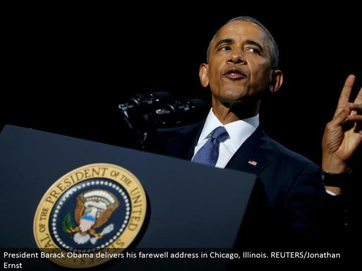 President Barack Obama conveys his goodbye address in Chicago, Illinois. REUTERS/Jonathan Ernst