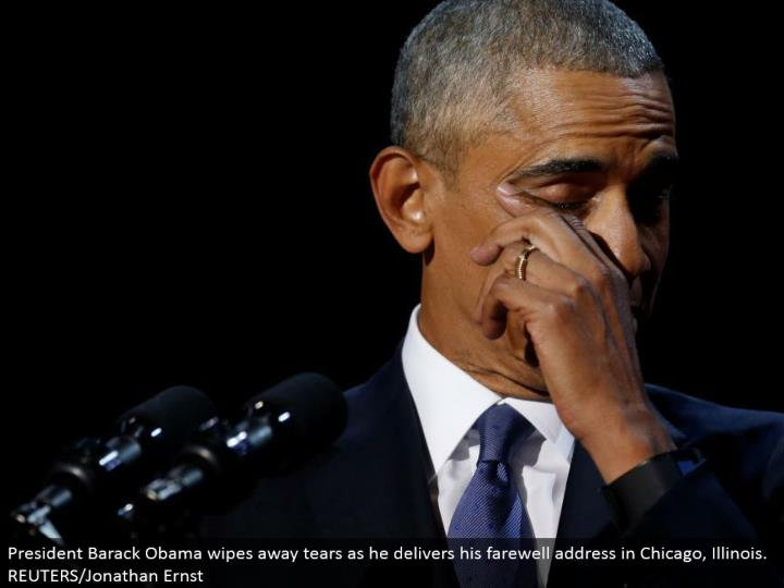 President Barack Obama wipes away tears as he conveys his goodbye address in Chicago, Illinois. REUTERS/Jonathan Ernst