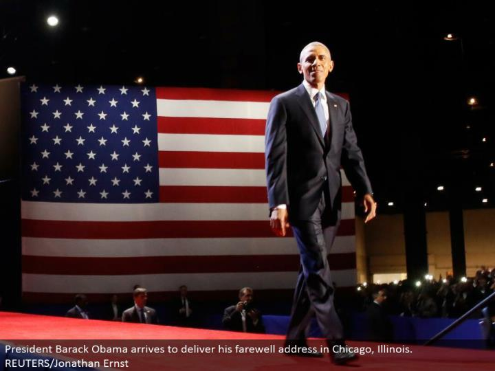 President Barack Obama lands to convey his goodbye address in Chicago, Illinois. REUTERS/Jonathan Ernst